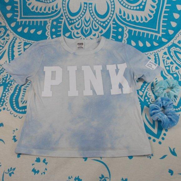 PINK Victoria's Secret Tops - Pink Crop Top with 2 Blue Scrunchies Tie Dye EUC